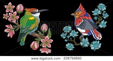 Embroidery design with birds. Kingfisher (australian kookaburra) and red northern cardinal. Collection of embroidered elements for fabric and textile prints patches stickers.
