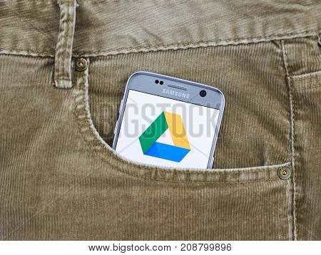 MONTREAL CANADA - OCTOBER 2 2017: Google Drive android app on S7. Google Drive is a file storage and synchronization service developed by Google.