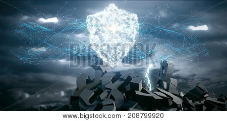 Composite image of glowing shield and connecting lines against blue background against 3d image of lightning clouds over broken dollar sign and rocks