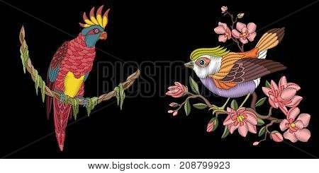 Embroidery design with birds. Pink cockatoo parrot and sparrow sitting on cherry blossoming tree branch. Collection of embroidered elements for fabric and textile prints patches stickers.