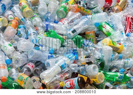 Rayong, Thailand-august 13, 2016: Close-up View Plastic Bottles Of Various Drinks In The Yard Of A C