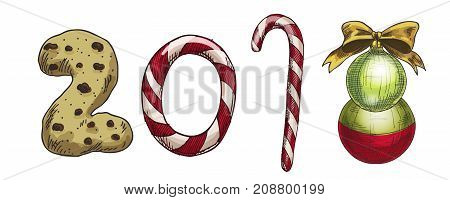 New Year 2018 . Winter card with candies biscuit and a Christmas tree toy. Vector image for new years day christmas sweet-stuff winter holiday new years eve