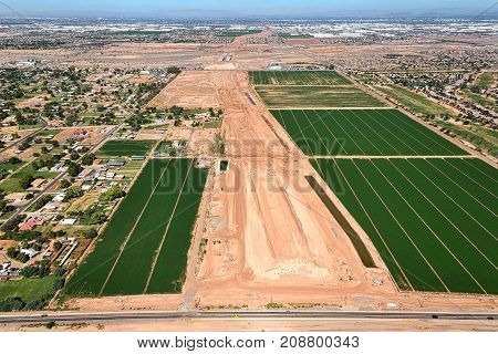 Aerial view of construction on the extension of the Loop 202 Freeway