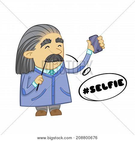 Cute scientist. Cartoon design of funny scientist. Vector illustration