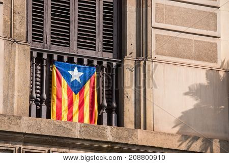 View Of The Balcony With A Flag. Referendum On Independence, Barcelona, Catalunya, Spain. Close-up.