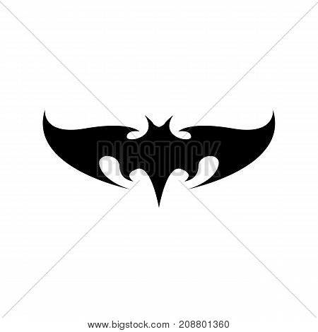 vector halloween black bat animal icon or sign isolated on white background. vector bat silhouette with wings. vector abstract bat tattoo art concept design template