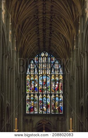 NORWICH, NORFOLK, 4TH OCTOBER 2017 - The 15th C West Window (with Victorian Mundesley stained glass from 1854) in Norwich Cathedral Norwich Norfolk UK