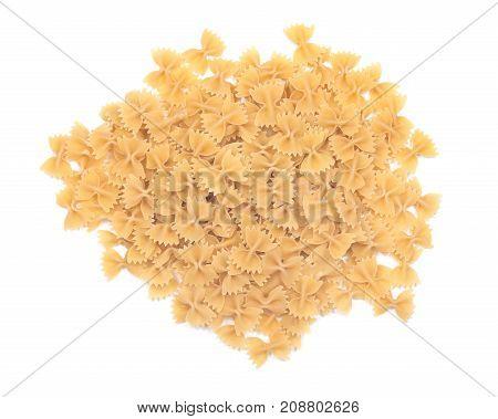 Farfalle durum semolina pasta isolated on white background