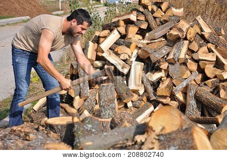 Lumberjack chopping wood for winter, Lumberjack chopping woods with old ax