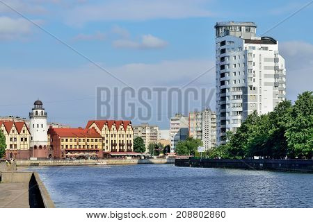 KALININGRAD RUSSIA - MAY 25 2014: The fishing village - the cultural and ethnographic complex the tourist attraction of the city. Kaliningrad City Symbol