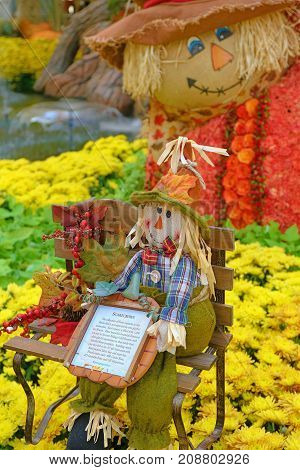 LAS VEGAS - OCT 8 : Fall season in Bellagio Conservatory & Botanical Gardens on October 8 2017 in Las Vegas. There are five seasonal themes that the Conservatory undergoes each year.