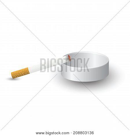 Ashtray and Burning Cigarette Isolated on White Background