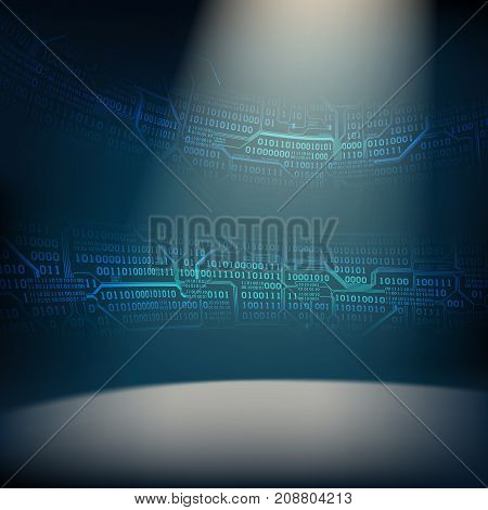 Abstract background with illuminated foreground and strips of binary code and printed circuit boards concept of digital technologies of the future