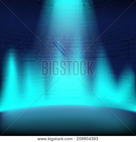 Abstract background with a glowing plasma and a wall of binary code and printed circuit boards the concept of digital technology of the future