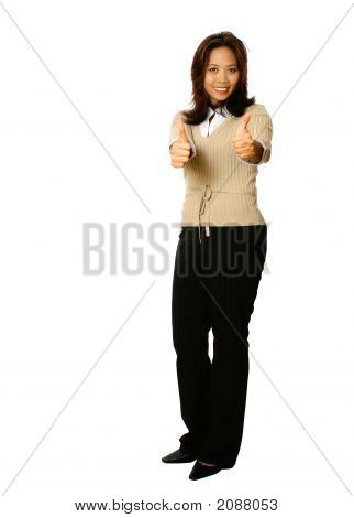 Female Asian Businesswoman With Thumbs Up