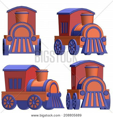 Toy Train With Black Outlines