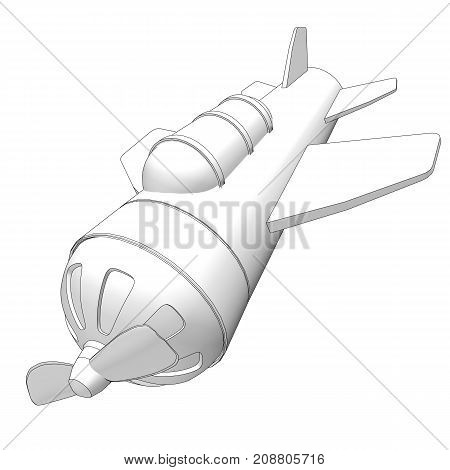Toy Airplane With Black Contours