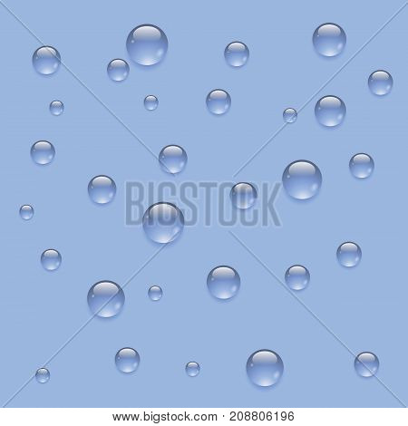rain water drops isolated on blue background