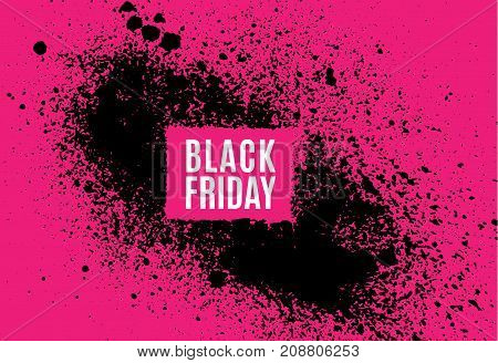 Grunge Black Friday sale poster. Modern design with spray black ink splash brushes ink droplets blots. Black splash on red background. Vector grunge frame with space for your advertising offer.
