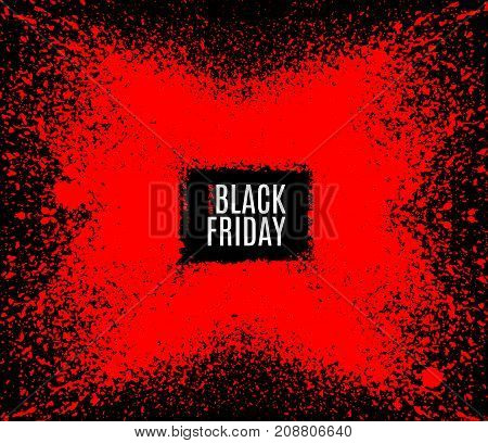 Grunge Black Friday sale stamp. Modern design with black and red ink splash brushes ink droplets blots. Red on dark background. Vector grunge frame with space for your text.