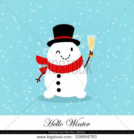 Playful snowman. Winter Christmas and New Year illustration. Element of the collection. Good for congratulation card banner flyer leaflet poster. Vector illustration