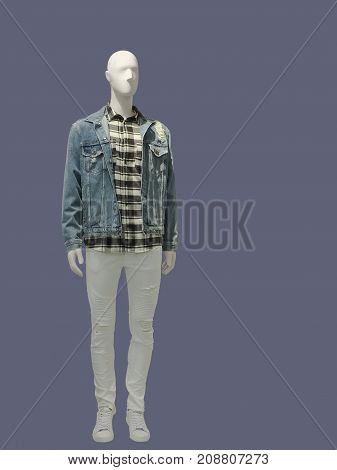 Full-length man mannequins dressed in casual clothes isolated. No brand names or copyright objects.