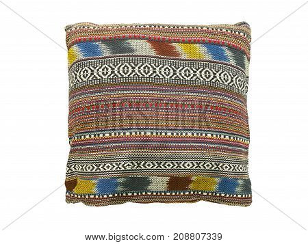 Soft colorful stripes pillow isolated on white background