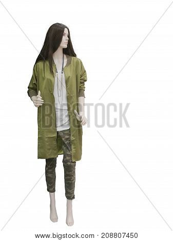 Full-length female mannequin wearing khaki coat isolated on white background. No brand names or copyright objects.