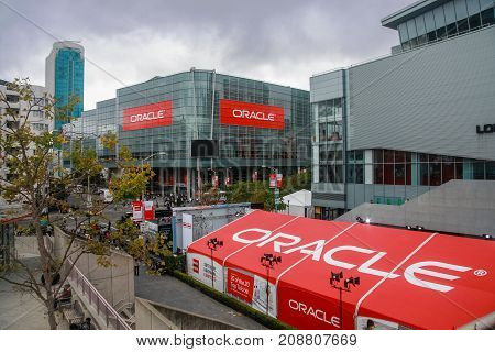 SAN FRANCISCO CA USA - SEPT 19 2010: Attendees of Oracle Open World conference go to Moscone Center West on Sept 19 2010 in San Francisco CA USA.