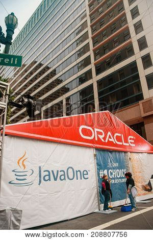 SAN FRANCISCO CA USA - SEPT 19 2010: The JavaOne conference zone at Taylor Street. The road was occupied by large pavilion of Oracle OpenWorld on Sept 19 2010 in San Francisco CA.