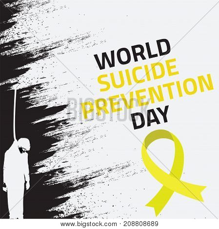 World Suicide Prevention Day, 10th September. Hanging man from rope suicide concept illustration vector.