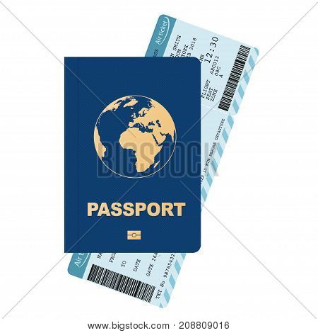 Passport and boarding pass, airline passenger ticket with bar code. Air travel concept. Flat Design citizenship ID for traveler. Vector