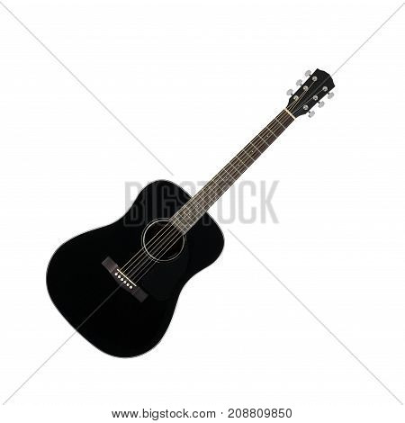 Musical instrument - Black acoustic guitar cutaway on a white background.