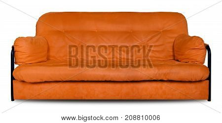 Upholstered furniture - Orange modern made of cloth the sofa divan isolated on a white background