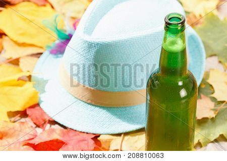 Bottle of Beer glass pint octoberfest picnic on natural background with hat and autumn yellow leaves