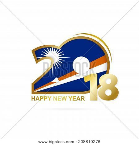 Year 2018 With Marshall Islands Flag Pattern. Happy New Year Design.