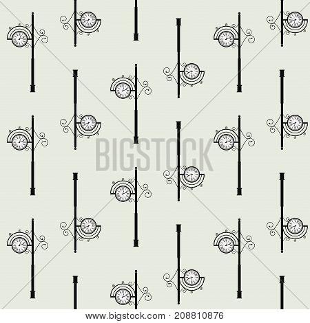 Old clock street seamless pattern. Street pole retro and vintage clock. Vector illustration