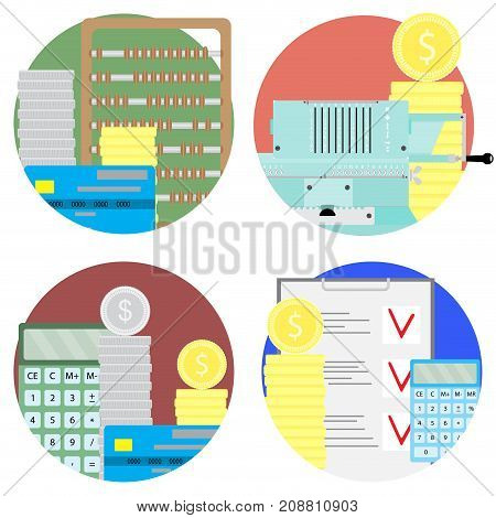 Financial audit and money account set icons. Audit profit and budget balance analysis and planning. Vector illustration