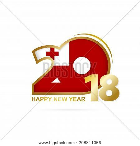 Year 2018 With Tonga Flag Pattern. Happy New Year Design.