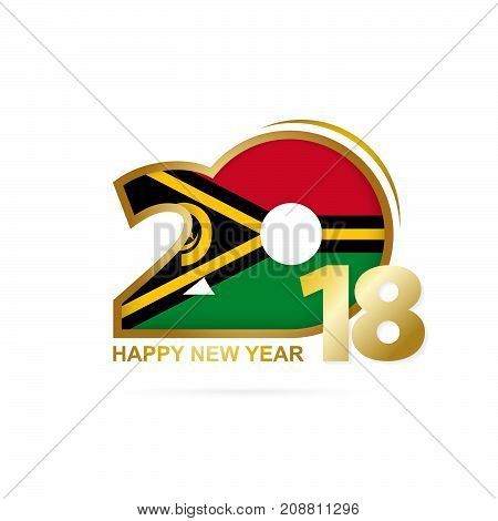 Year 2018 With Vanuatu Flag Pattern. Happy New Year Design.