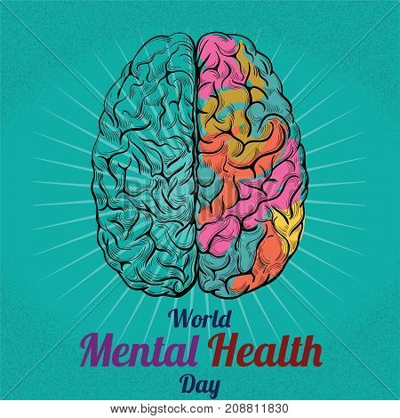 World Mental Health Day, 10 October. Human brain conceptual illustration vector.