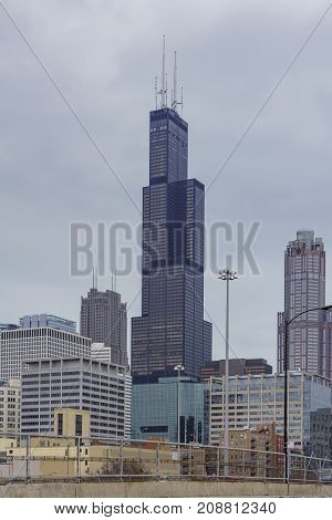 Willis Tower In A Cloudy Day