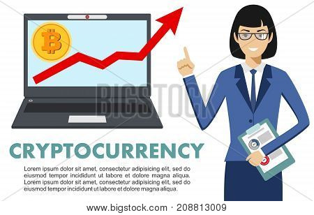 Businesswoman with computer. Bitcoin sign digital currency cryptocurrency electronic money. Cryptocurrency concept. Bitcoin mining exchange mobile banking. Up graph with bitcoin sign cryptocurrency in flat icon design in laptop.