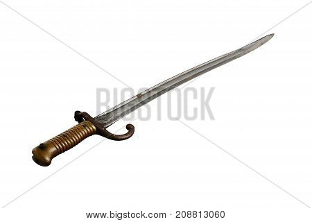1867 French Yataghan Sword Bayonet On White Background