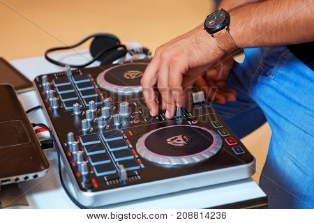 professional music equipment for playing and control music in nightclub