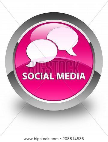Social Media (chat Bubble Icon) Glossy Pink Round Button