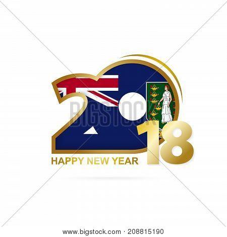 Year 2018 With British Virgin Islands Flag Pattern. Happy New Year Design.