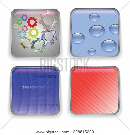 Set of Different Glass Buttons Isolated on White Background