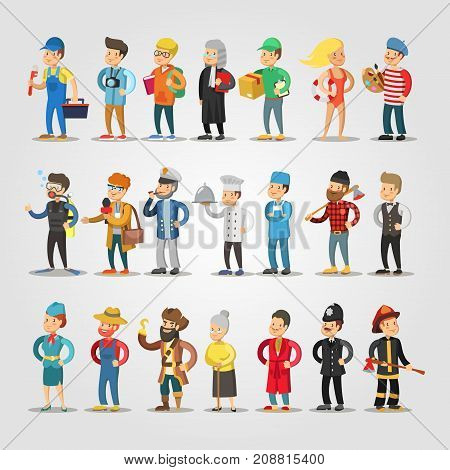 Cartoon People Professions Set with Doctor, Judge, Student Repairer Chief Farmer. Vector illustration