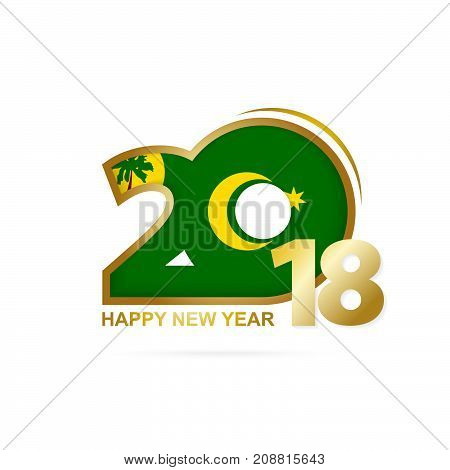 Year 2018 With Cocos Islands Flag Pattern. Happy New Year Design.